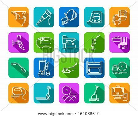 Construction tools, consumables, icons, contour, colored. Vector, white contour drawings of equipment for construction and renovation on a colored background with a shadow.