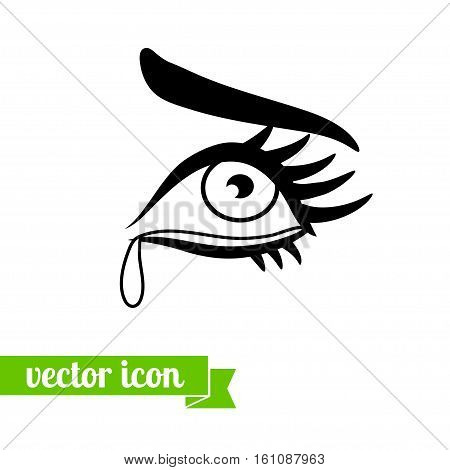 crying eye icon flat icon vector. icon of eye with teardrop for web design. Beautiful female crying eye with long eyelashes and eyebrow for vision logo, view icon, look pictogram