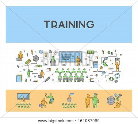 Line design web concept for training. Modern linear horizontal banner for coaching.