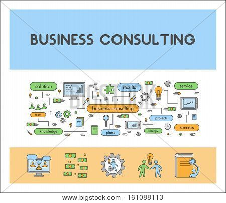 Line web banner for business consulting. Vector design landing page for consultancy.