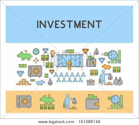 Line web horizontal banner for investment. Vector design concept for banking.