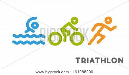Line logo triathlon. Figures triathletes on white background. Swimming cycling and running symbol.