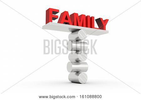 family balance on white background 3D illustration