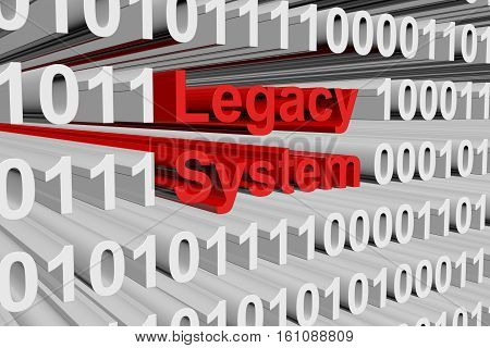 Legacy system in the form of binary code, 3D illustration