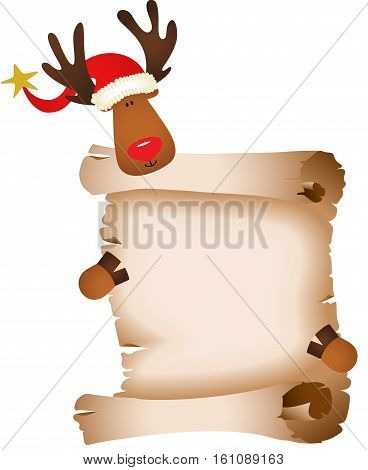 Scalable vectorial image representing a cute reindeer with parchment, isolated on white.