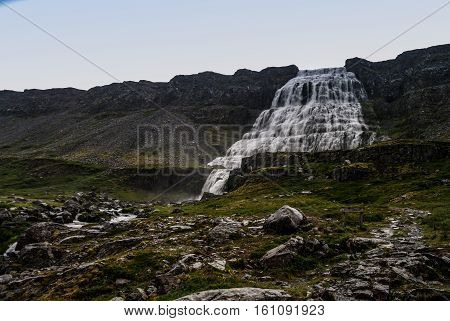 View to Dynjandi waterfall western fjords Iceland