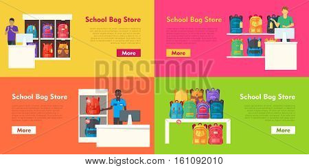 School bag store vector set. Seller at counter propose teenage bags. Backpacks on the shelves. Sale of college education rucksacks. Colorful back to school emblem in flat style. Vector illustration