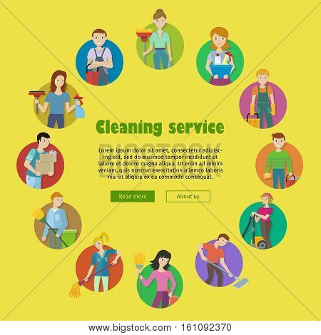 Cleaning service round icon set. Man and woman with cleaning equipment and detergent. House cleaning service, professional office cleaning, home cleaning illustration. Website template.