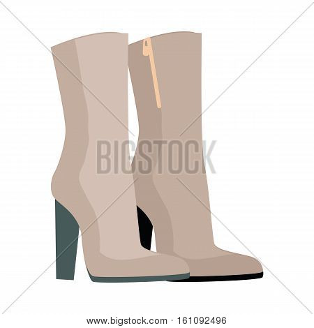Pair of boots vector. Flat style. Warm boots with high boot-top and heel from leather or suede for autumn or winter seasons. For shoes store ad, wear concept, icons, web design. Isolated on white