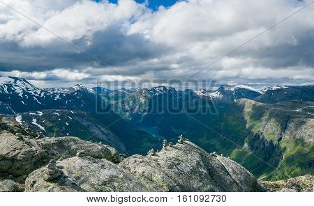 Scenic aerial mountain and fjord view from Dalsnibba viewpoint. Geiranger fjord, Norway.