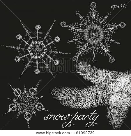 Branch and three snowflake invitation Flyer design abstraction author of the idea of the crystal water openwork ornament holiday handmade print white object text vector illustration eps10 stock