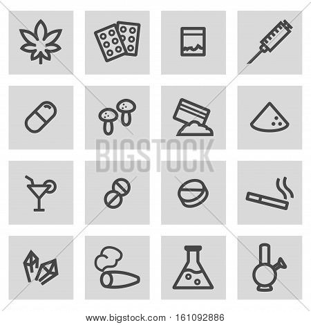 Vector line drugs set on grey background