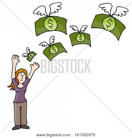An image of Woman Losing Money.