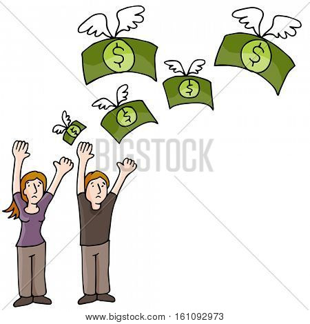 An image of Couple Losing Money.