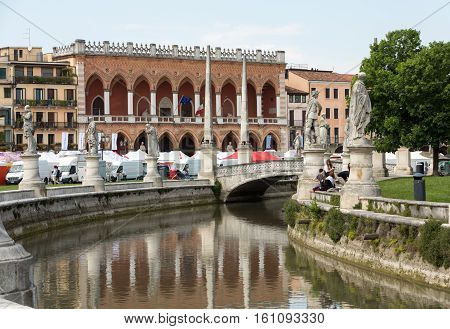 PADUA, ITALY - MAY3, 2016: Lodge Amulea in the Great piazza of Prato della Valle also known as Ca' Duodo Palazzo Zacco in Padua Italy