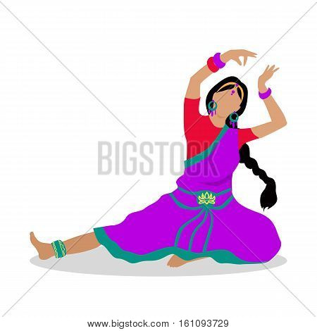 Woman in indian national clothes dance. Vector in flat design. Young girl with braided hair in violet saree, ornamentation and jewelry dancing traditional folk dance. Asian choreography and folklore.