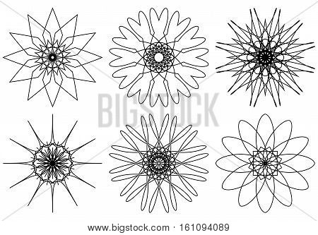 Set of spirograph design elements isolated on white background. Intricate circular shapes. Flowers and snowflakes. Vector