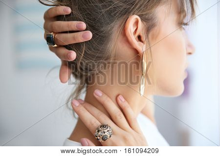 Beautiful woman with stylish accessories, closeup