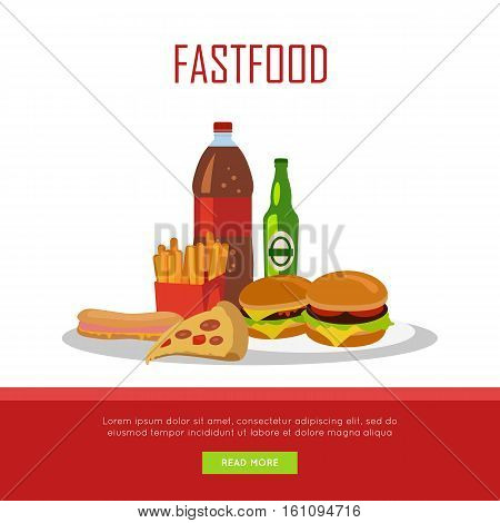Fast food banner isolated on white background. Unhealthy food. Consumption of high-calorie nourishment junk food. Part of series of promotion healthy diet and good fit. Vector illustration