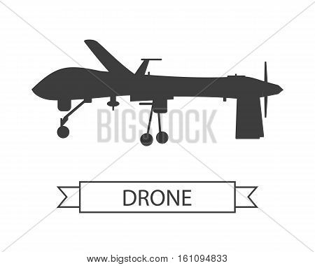 Drone icon isolated on white. Unmanned aerial vehicle or unmanned aircraft system, without a human pilot aboard. Quadcopter sign symbol. Flying for aerial photography or video shooting. Vector poster