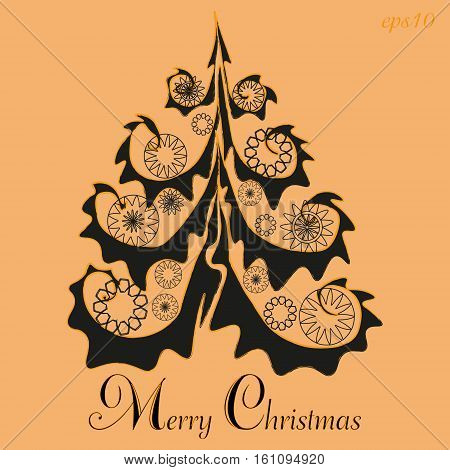 Merry Christmas Tree Greetings Abstract holiday handmade card branch decoration print cover flyer new year text flower ball eps10 vector illustration Stock