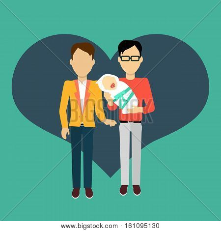 Couple in love homosexual young family man with a newborn baby. In the background of the heart silhouette. Romantic banner flat together male a gay couple, vector illustration