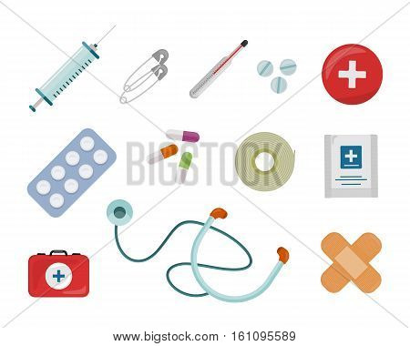 Set of medical supplies vectors in flat design. Things to medical emergency. Drugs, stethoscope, patch, pill, pins, syringe, bandage, cooling pack, first aid kit with red cross illustrations.