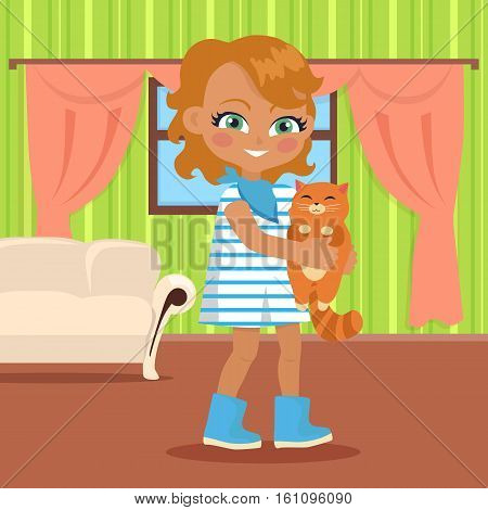 Girl holds small cat in her hands. Little girl has leisure time. School girl during break. Young lady at home, playing with toy kitten. Favourite toy. Daily activity. Vector