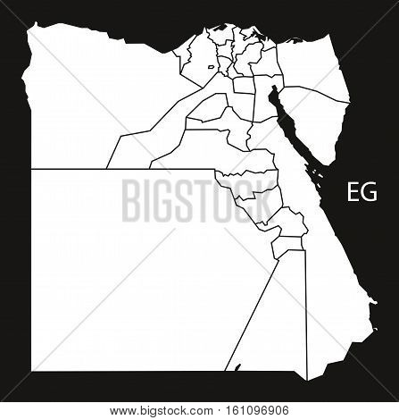 Egypt Governorates Map Black And White Illustration