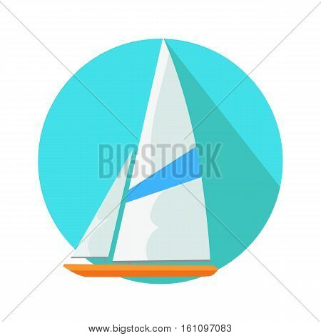Boat sign symbol in round web button. Yacht at sea in flat style. Boat sailing, yacht, sailboat ship, vessel sail, tourism travel vacation yacht, yacht water. Boat in circle isolated on white. Vector