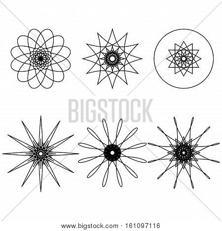 Set of six spirograph design elements isolated on white background. Intricate shapes. Flowers and snowflakes. Vector