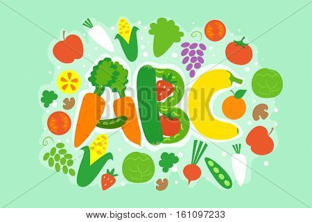 Typography Illustration Featuring Different Vegetables Arranged like the Letters A, B, and C
