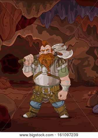 Fantasy style Dwarf with axe in the magic cave
