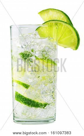 Glass of cold lemonade with ice isolated on white background