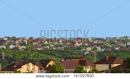 Suburban skyline. Buildings individual suburban housing in the eco-friendly district. poster