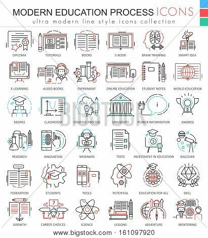 Vector Modern education process color line outline icons for apps and web design. Modern education process icons