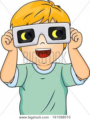 Illustration of an Excited Little Boy Wearing Protective Glasses as He Watches an Eclipse