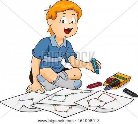 Illustration of a Little Boy Drawing Different Constellations on Pieces of Paper with Crayons