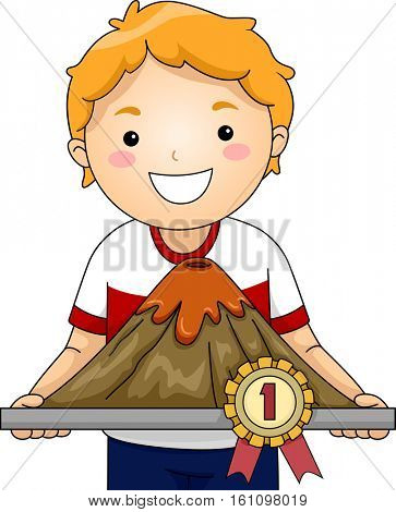 Illustration of a Little Boy Showing His Prize Winning Volcanic Scale Model