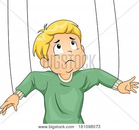 Illustration of an Upset Little Boy with Strings Tied to His Arms Being Manipulated Like a Marionette