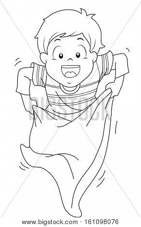 Coloring Page Illustration of a Little Boy Hopping Eagerly While Competing in a Sack Race