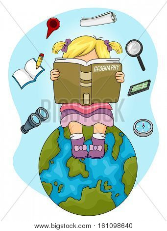 Illustration of a Little Girl Sitting on Top of a Globe Reading a Geography Book