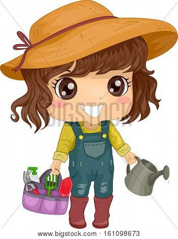 Illustration of a Little Girl in a Jumper and a Sun Hat Carrying Gardening Tools