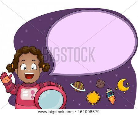 Illustration of a Cute Little Girl in a Spacesuit Sending Her Greetings from the Outer Space