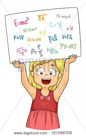 Illustration of a Little Girl Holding a White Board Filled with Physics Formula