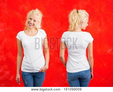 Woman in white round neck T-shirt on red background