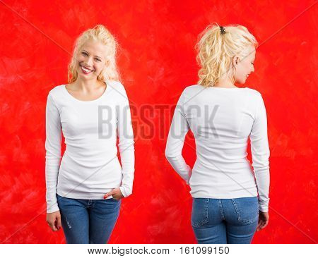Woman in white long sleeve shirt on red background
