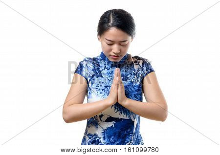 Young Chinese Woman Bowing Her Head