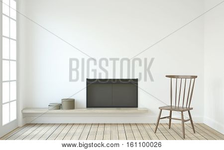 Interior with fireplace in scandinavian style. 3d render.