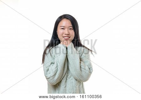 Pretty Young Chinese Woman In Winter Fashion